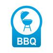 Etiqueta tipo app redonda azul BBQ
