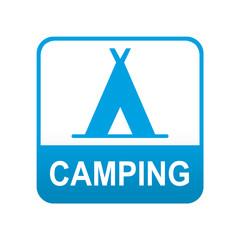 Etiqueta tipo app azul CAMPING