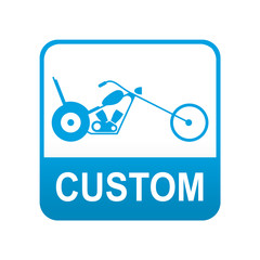 Etiqueta tipo app azul CUSTOM motos