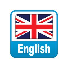 Etiqueta tipo app azul English