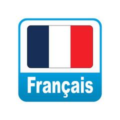 Etiqueta tipo app azul Français