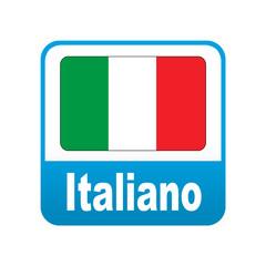 Etiqueta tipo app azul Italiano