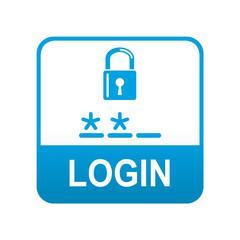 Etiqueta tipo app azul LOGIN
