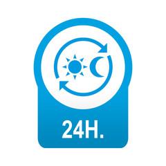 Etiqueta redonda azul 24H