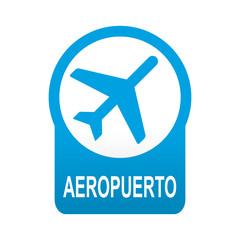 Etiqueta redonda azul AEROPUERTO