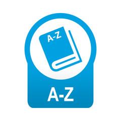 Etiqueta redonda azul A-Z