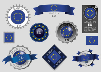 Made in EU Seal, European Union Flag (vector Art)