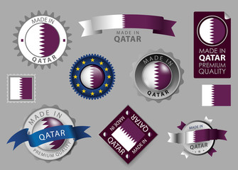 Made in Qatar Seal, Qatari Flag (vector Art)