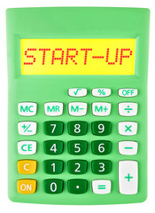 Calculator with START-UP on display isolated on white background