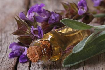 fragrant sage oil in a glass bottle