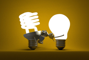 Glowing tungsten light bulb punching spiral one with its fists