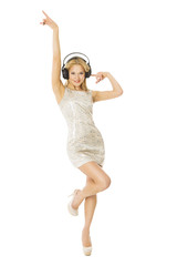 Woman in headpnones dancing listening to music, isolated white