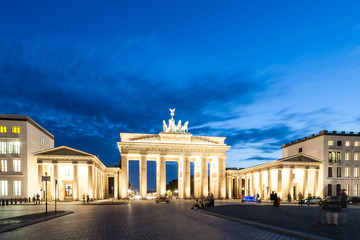 The Brandenburg Gate (German: Brandenburger Tor) in Berlin