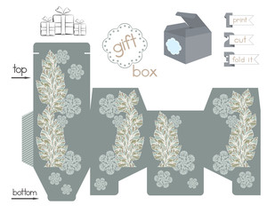 Printable Gift Box With Plant Pattern