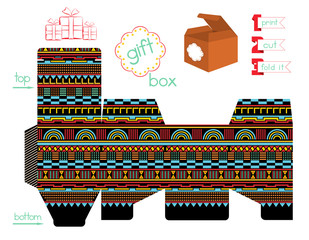 Printable Gift Box With Geometric Pattern