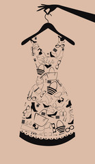 Woman dress from accessories. Vector