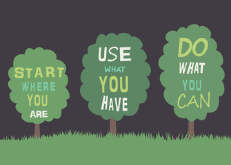 Trees with quotes. Vector
