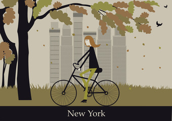 Woman on the bicycle in New York. Vector