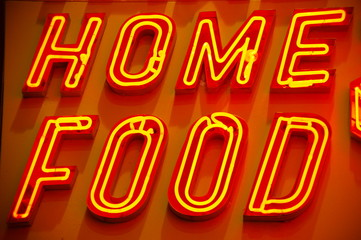 "red orange neon sign ""home food"""