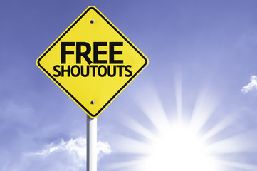 Free Shoutouts road sign with sun background