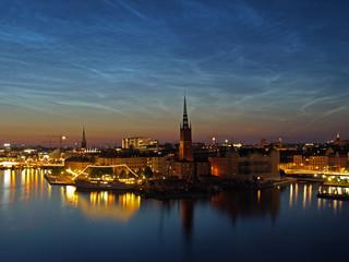 Noctilucent clouds over Gamla stan, Stockholm, Sweden