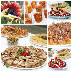 Appetizers buffet collage