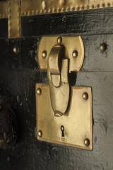Antique brass trunk lock