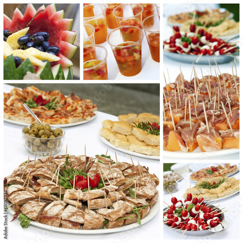 Appetizers buffet collage - 68087337