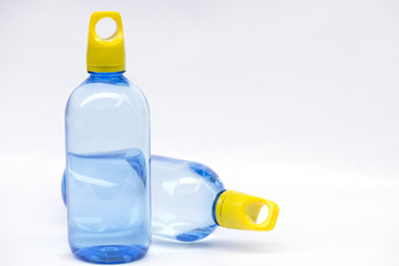 Drinking water bottle on white background.