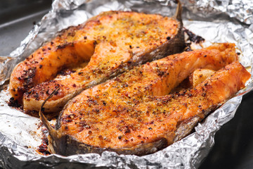 Trout baked in the oven