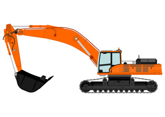 Illustration of orange excavator on tracks. Vector