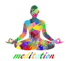 silhouette che medita composta da mani colorate