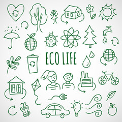 Vector hand drawn ecological icons