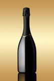 .bottle of sparkling wine on gold background - Fine Art prints