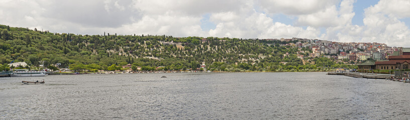 Panoramic view of large river in city