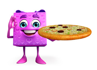 Gift Box Character with pizza