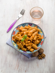 pasta with capsicum sauce and nuts pesto