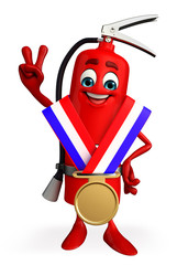 Fire Extinguisher character with gold medal