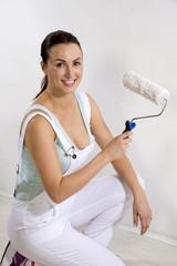 Attractive female painter decorator