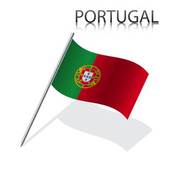 Realistic  Portuguese flag, vector illustration
