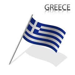 Realistic Greek flag, vector illustration