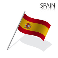 Realistic Spanish flag, vector illustration