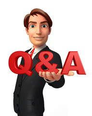 Young Business Man with Q & A