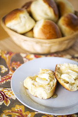 Dinner Rolls with Butter and Honey