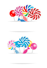 Banners with candy, vector illustration