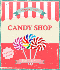 Vintage candy shop poster template, vector illustration