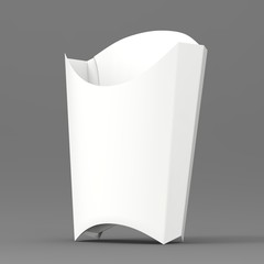 French Fries Box Mock-up. White Paper Package Container
