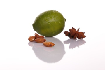 Lime with almond (nuts) and  cardamom star