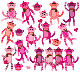 Collection of Girl Sock Monkey Vectors
