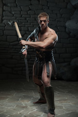 Gladiator with sword and axe